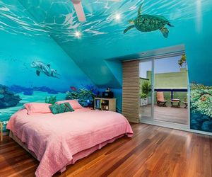 bedroom, under the sea, and colours image