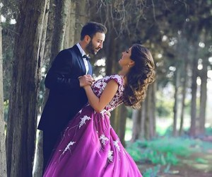 couple, dress, and forest image