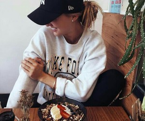 cap, eat, and girl image