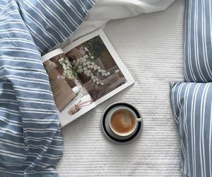 coffee, bed, and bedroom image