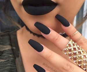 black nails, gold, and matte black nails image