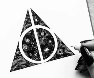 harry potter, drawing, and deathly hallows image