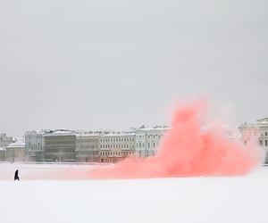 pink, snow, and smoke image