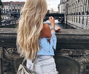 hair, blonde, and outfit image