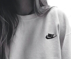 nike, hair, and black and white image