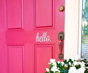 pink, door, and hello image