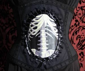 corset, goth, and skeleton image