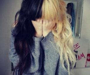 black hair, blonde, and long hair image