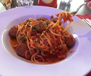 food, meatballs, and sauce image
