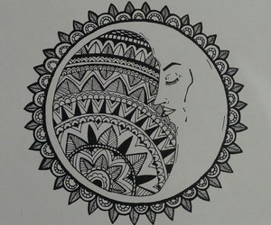 black, mandala, and moon image