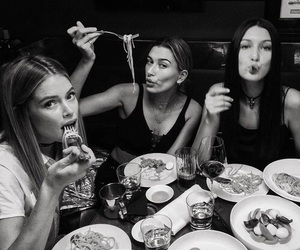 bella hadid, black and white, and friends image