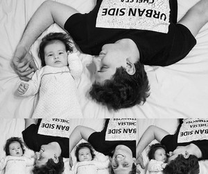 baby girl, daddy, and black and white image