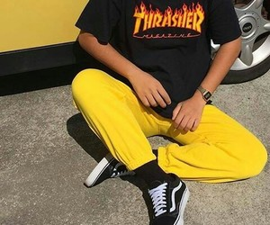 thrasher, vans, and yellow image