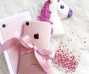 iphone, pink, and unicorn image