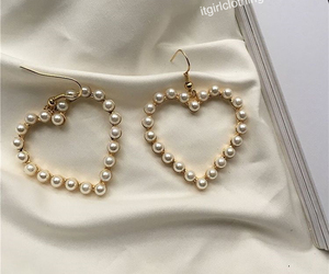 earrings, fashion, and pearl image