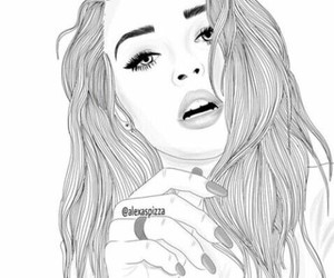 black and white, girls, and disegno image