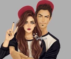 girly_m, couple, and art image