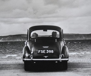 black and white, car, and vintage image