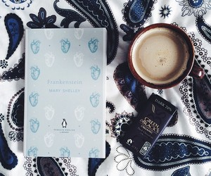 book, Frankenstein, and coffee image