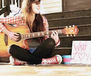 guitar, girl, and what is love image