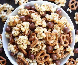 chocolate, food, and popcorn image