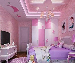bed room, girl, and pink image