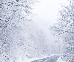 road, snow, and beautiful image