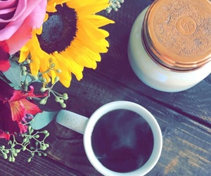 flowers, morning, and coffee image