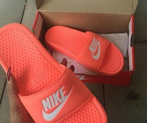 nike, orange, and shoes image
