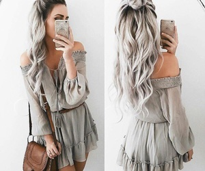 hair, grey, and outfit image