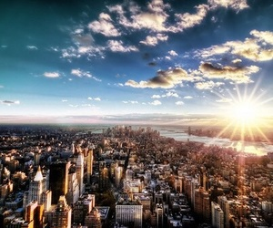 city, sun, and new york image