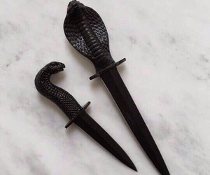 knife, black, and snake image