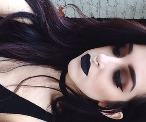 black, dark, and make up image