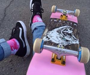 pink, skateboard, and vans image