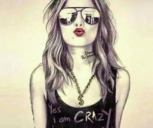 girl, crazy, and drawing image