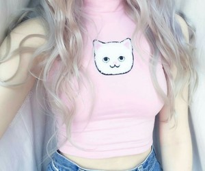 pink, cat, and hair image