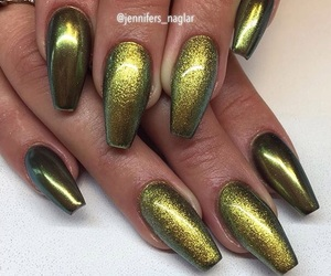 green, nail swag, and metallic image