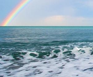 rainbow, sea, and ocean image