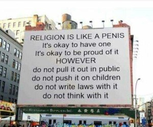 penis, religion, and dont think with it image