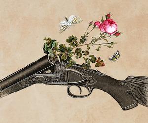 flowers, art, and gun image