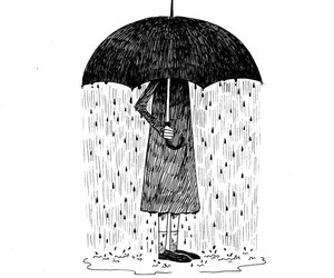 art, rain, and umbrella image