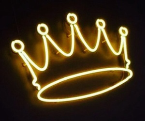 crown, neon lights, and Queen image