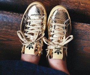 shoes, adidas, and gold image