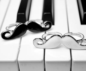 mustache, piano, and rings image