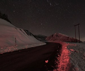 red, snow, and road image