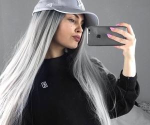 girl, grey, and hair image