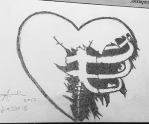 drawing and ripped heart image
