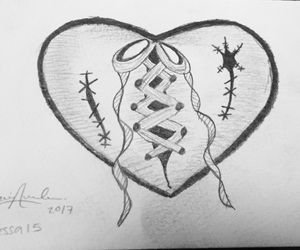 broken, drawing, and repaired heart image