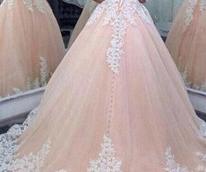 bridal dress, sweetheart neckline, and blush wedding dress image