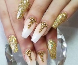 acrylic, gold glitter, and glitter image